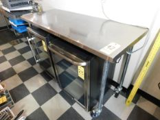 """Stainless Steel Table on Casters, ith Bottom Shelf, 60"""" L x 2' Wx 39"""" T"""