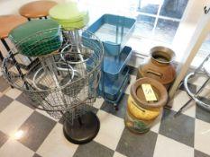 Dark Blue Rack with Wheels, 3-Tier Metal Basket, (2) Large Milk Jugs