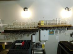 (2) Wooden Wall Mounted Wine Glass Holders, Wine Glasses, Tasting Glasses and Miscellaneous Glasses