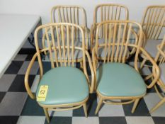 (4) Wooden Chairs with Vinyl Seats, (2) Blue Seats, (2) Gray Seats