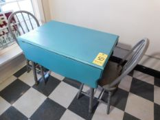 Wooden Teal Table with (2) Gray Wooden Chairs