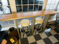 """Wooden Tall Table with Bar Stools, 5' L x 1' W x 42"""" T"""