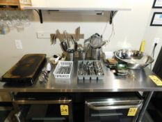 Miscellaneous Kitchen Utensils, Stainless Cheese Knives, Silverware, Dishes, Bowl, Warmer Tray