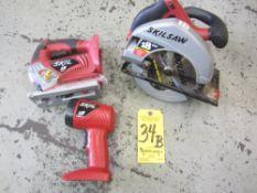 "Skil Cordless 7 1/4"" Circular Saw, Skil Cordless Jig Saw, and Skil Cordless Worklight 18V, No"