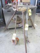 "Ridgid 40A Tristand, Ridgid 65-R Hand Threader, Ridgid 24"" Pipe Wrench, and Conduit Bender"
