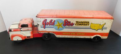 """MAR Toys Metal """"Gold Star Transfer"""" Truck and Trailer Toy"""