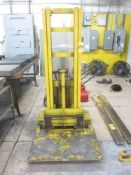 Crown Model WT-110 Walk Behind Electric Platform Lift, s/n 7662, 1,500 Lb. Cap., New Battery