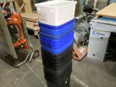LARGE QTY TRASH AND RECYCLE BINS