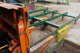 "4 STRAND INFEED PACKAGE BREAKDOWN DECK, 13' X 22.5'L; TO 4 ARM 12'6"" HYDRAULIC TILT HOIST, 51"" ARMS,"