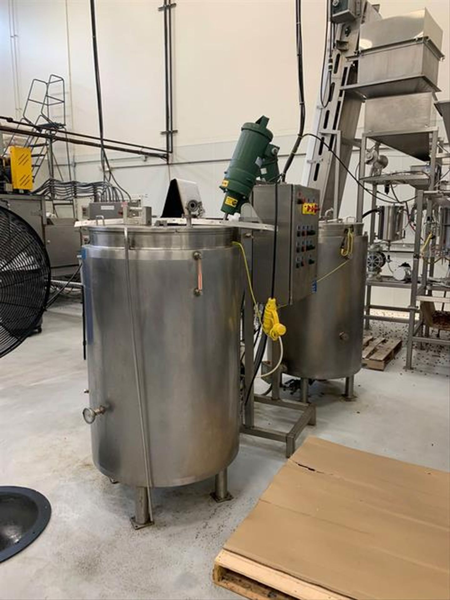 (2) Spray Dynamics 100 Gallon Stainless Steel Jacketed Mixing Tanks with pump - Image 6 of 32