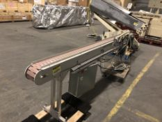 "Conveyor belt 4.5"" wide x 9-ft long with plastic flat top chain conveyor with 31"" tall legs with"