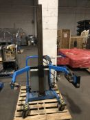 Savage model B kettle lifter with manual tilt controls, 6-ft tall mast on casters. Serial#223