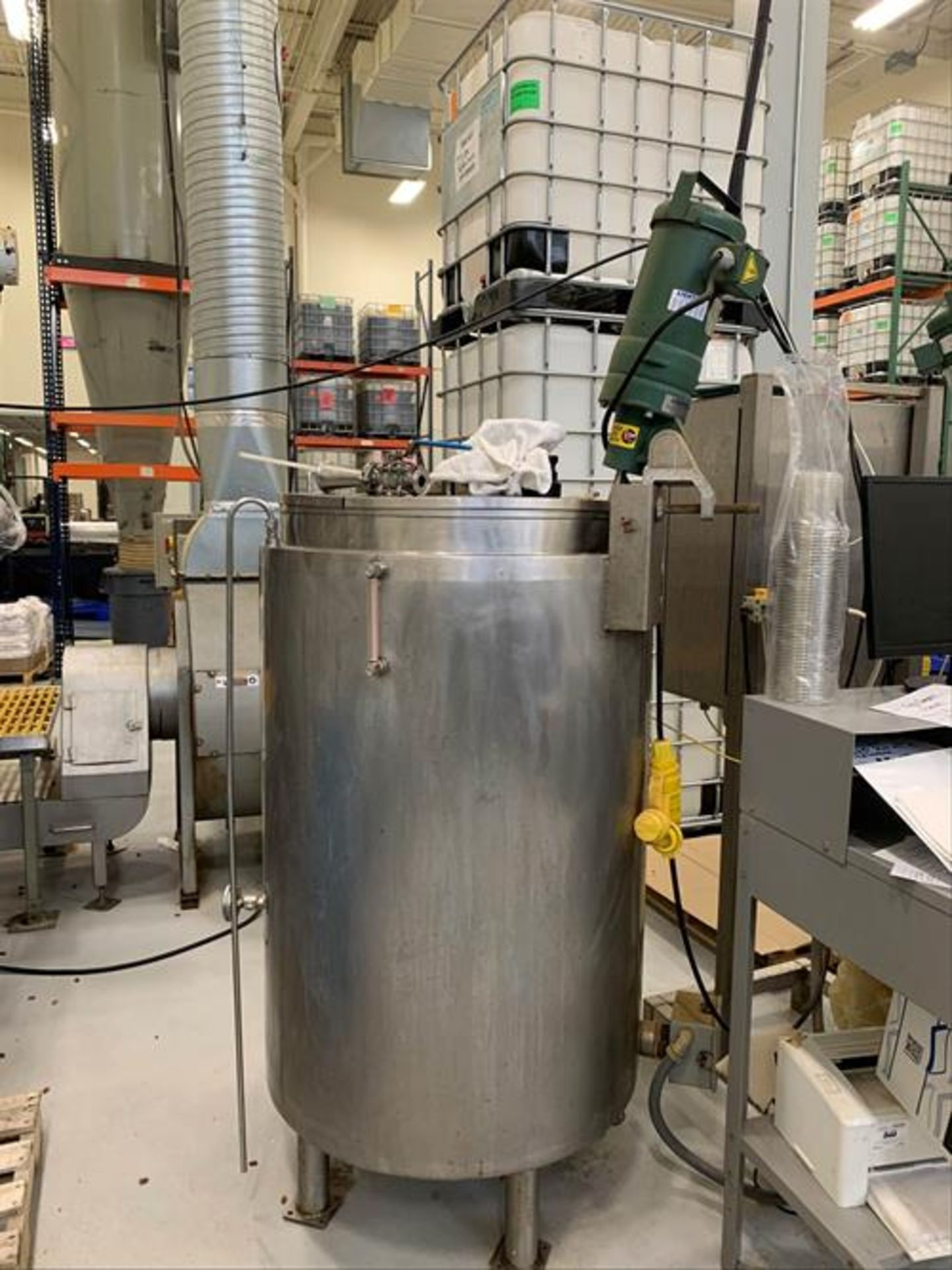(2) Spray Dynamics 100 Gallon Stainless Steel Jacketed Mixing Tanks with pump - Image 11 of 32