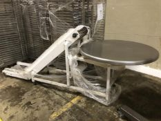 "Smalley Pack-off Conveyor with Turntable - 14"" wide x 60"" long inclined cleated conveyor - 2-ft flat"