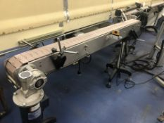 """4.5"""" wide x 72"""" stainless steel long flat top chain conveyor with speed controller. Loading is free."""