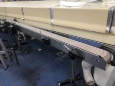 """4.5"""" wide x 112"""" stainless steel long flat top chain conveyor with speed controller. Loading is"""