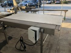 """36"""" wide x 6-ft long stainless steel conveyor, 36.5"""" tall. Loading is free. Skidding or crating fees"""