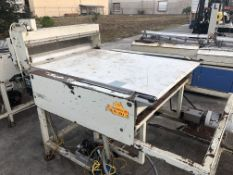 """Guillotine Cutter with 38"""" wide air-operated knife, 40"""" wide x 63"""" long belt conveyor. Loading is"""