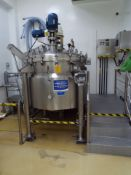 Polinox ss 1,000 liter reactor with scrapers and homomixer, weight cells, controls and ss platform