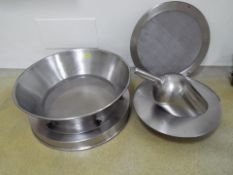 Stainless steel hopper with sieve for unloading kegs with 2 additional screens and ss ladle