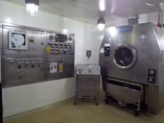 """Vector Freund 51"""" Hi-Coater stainless steel film coating system with 2 spray system and nozzles."""