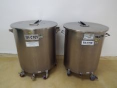 (2) Stainless steel 270 liter Tanks with lid