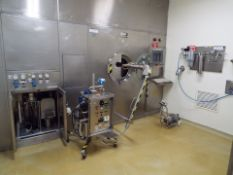 """Pellegrini stainless steel 48"""" model HT-MT150 coating system with 2 spray pumps nozzles and cip pump"""