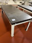 """Mills 3 x 8 ft carbon steel water jacketed cold tables, 30"""" tall with mixing valves"""