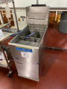 Pitco model 35C+SS Basket Fryer, natural gas fired, two baskets, serial#G02G023096, 90,000 btu/hr