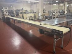 """16"""" wide x 30-ft long x 36"""" tall packing conveyor on casters"""