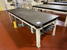 """Mills 3 x 8 ft carbon steel water jacketed cold tables, 30"""" tall with lot of bars, with mixing"""