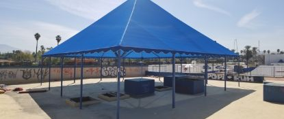 AR INDUSTRIES BLUE TENT CABANA 30'X30' APPROX