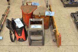Lot-(1) Mechanic's Floor Creeper, Lasko Blower, (2) Rag Safety Cans