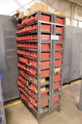 Portable Double Sided Parts Bin Shelving Unit with Nuts, Bolts, etc. Contents