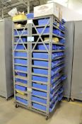 Portable Double Sided Parts Bin Shelving Unit with Nuts, Bolts, Rivets, Fasteners, etc. Contents
