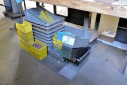 Lot-Plastic and Steel Totes Under (1) Table