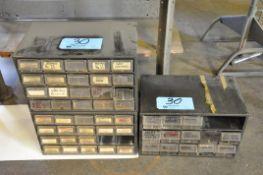 Lot-(3) Organizer Bin Cabinets Under (1) Bench