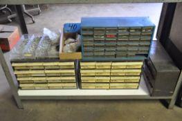 Lot-Various Hardware in (4) Organizer Bin Cabinets Under (1) Bench