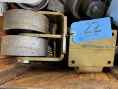 Lot of (4) Dual Steel Wheel Castors (Dual Wheel Only)