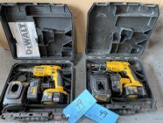 "Lot of (2) DeWalt 1/4"" Light Gauge Screw Drivers model DW969, Cordless, 14.4 volt (Includes Battery"