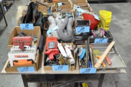 Lot-First Aid Supplies, Caulk, Brushes, Paint Tools, Respirators, etc. in (8) Boxes & (1) Bench