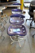 Lot-(3) Purple Stools in (1) Row