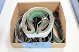 """Lot-1/2"""" and 1"""" Sanding Belts in (1) Box"""