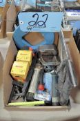 Lot-Tape Measures, Hack Saw, Hole Saws, Level, etc. in (1) Box