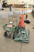 Lot-(1) Scotts Spreader, (1) Wire Shelving Cart, (1) Pylon, and (1) Tarp