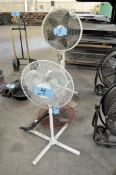 Lot-(3) Pedestal Office Fans and (1) Disassembled Fan in (1) Row