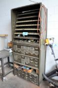 Lot-Bin Drawer/Open Bin Shelving Unit with Nuts and Bolts Hardware Contents