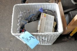 Lot-Computer Cables, Router, Modem, etc. in (1) Basket