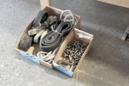 Lot-Rope, Cloth Lifting Straps and (1) Chain in (2) Boxes Under Bench