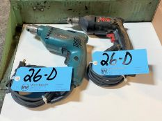 """Lot-(1) Skil Model 6215, 3/8"""" Electric Drill, and (1) Makita 3/8"""" Electric Drill"""
